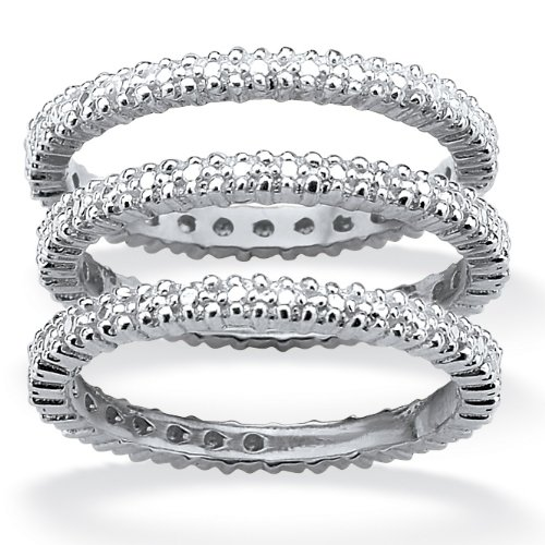 PalmBeach Jewelry Platinum Over Sterling Silver Set of Three Diamond Accent Eternity Bands