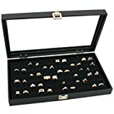 Glass Top Black Jewelry Display Case 72 Slot Ring Tray
