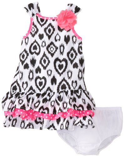 Kids Headquarters Baby-Girls Infant Printed Dress With Pink 3D Flower, Black/White, 18 Months front-838789