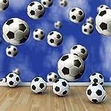 Footballs Falling in Sky Wallpaper Mural