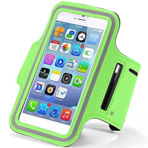 Universal Sports Armband Case Cover for Apple iPhone 6/6s Plus, Samsung S5, S6, Edge, Note 4, 5, LG, HTC and many other with Key Holder, touch Screen Functionality (Green)