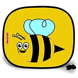 123t ANI-MATES BUMBLE BEE PLAIN Baby/Child Vehicle Sunshade x 2