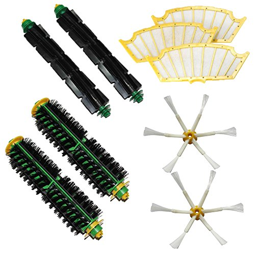 Shp-Zone 2 Bristle Brushes & 2 Flexible Beater Brushes & 2 Side Brushes 6-Armed & 3 Filters Pack Kit For Irobot Roomba 500 Series Roomba 510, 530, 535, 540, 560, 570, 580, 610 Vacuum Cleaning Robots All Green, Red, Black Cleaning Head front-537656