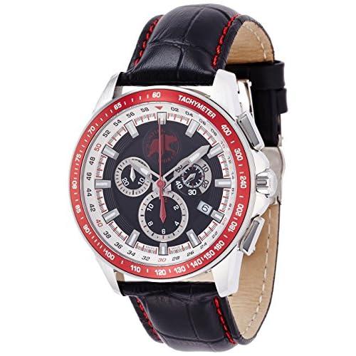 [ハンティングワールド]HUNTING WORLD 腕時計 クロノマジック ブラック文字盤 黒革 10気圧防水 HW402BK メンズ 【正規輸入品】