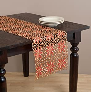 """Broderie Holiday Embroidered & Cutwork Poinsettia Rectangular Table Runner. Red and Gold Colors. One Piece. (16""""x72"""")"""