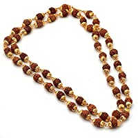 RUDRAKSH MALA Shiva God gold plated rudraksh mala chain long 24 inches 6805