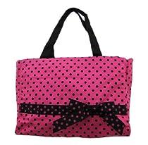 Hot Pink / Black Polka Dot Handbag Tote Rockabilly