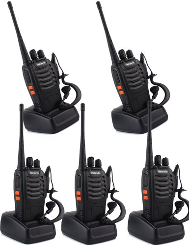 Retevis H-777 Super Quality Walkie Talkie UHF 400-470MHz 5W CTCSS/DCS 16CH Single Band With Earpiece Flashlight Two Way Radio Hand Held Mobile Ham Amateur Radio Transiver Black 5 Pack