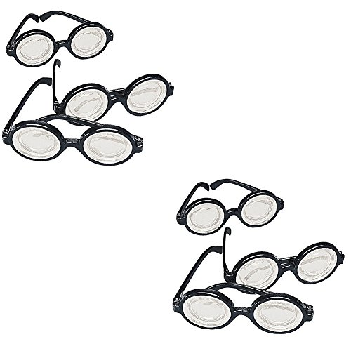 Lot of 24 Plastic Black Frame Nerd Glasses Costume Party Favors