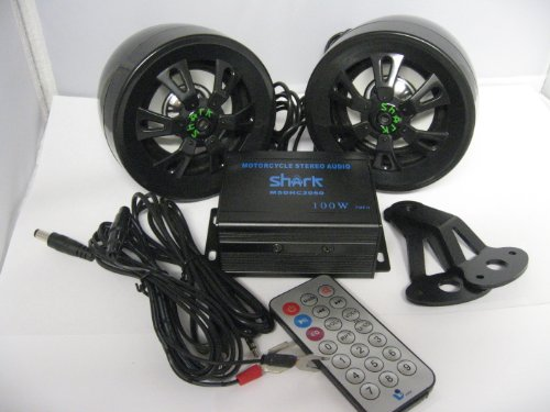"Shark Motorcycle Audio Shkdhc2050A-Black Motorcycle Snowmobile Audio Set. 100 W' Amp W/ 3"" Speakers Usb Sd. Great For Golf Carts"