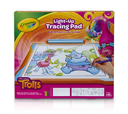 Crayola; Trolls Light-up Tracing Pad; Art Tool; Bright LEDs; Easy Tracing with 1 Pencil, 12 Colored Pencils, 10 Blank Sheets, 10 Tracing Sheets (Tracing Sheets compare prices)