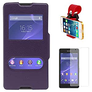 DMG Premium Flip Table Talk Stand Cover Case For Sony Xperia E3 (Purple) + Car Steering Wheel Mobile Phone Socket Holder + Matte Screen