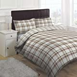 Linens Limited Texas Check Duvet Cover Set, Chocolate, Double
