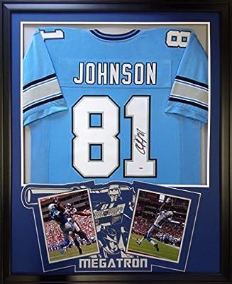 Calvin Johnson Framed Jersey Signed PSA/DNA COA Autographed Detroit Lions Megatron