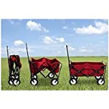 Kids Red Wagon Pull Along Outdoor Folding Utility Cart With Handle Portable Ride In Collapsible Garden Sports Beach Carry All