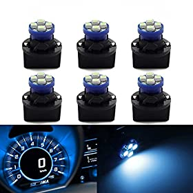 Partsam 6 Pack PC194 Led instrument Panel Dash Ice Blue Light Bulb Twist Lock Socket
