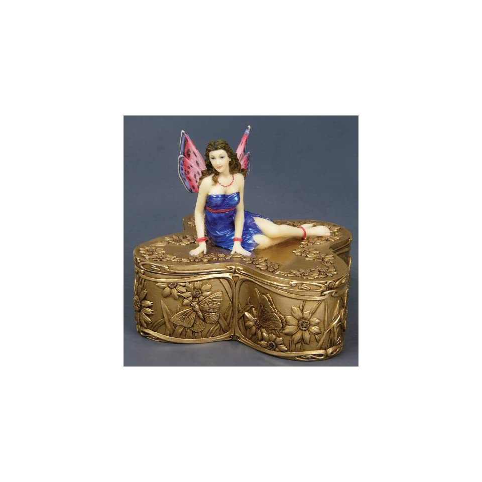 Figurine Fairy Butterfly Jewelry Box Cold Cast Resin