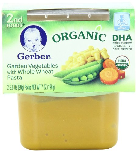 Gerber 2nd Foods Organic Garden Vegetables with Whole Wheat Pasta, 2-Count, 3.5-Ounce Containers (Pack of 8)