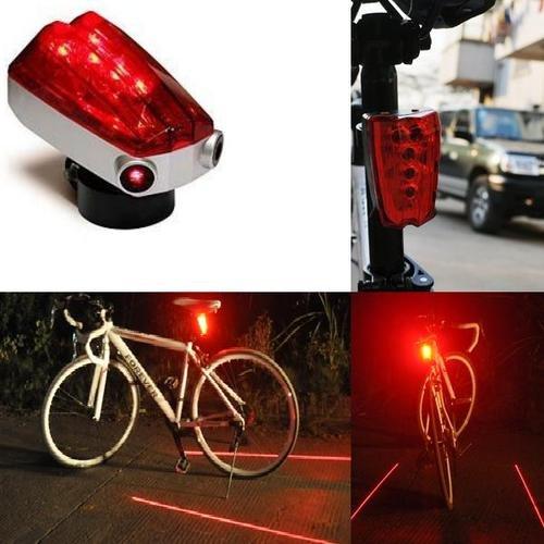 5 Led Bicycle Rear Tail Red Bike Torch Laser Beam Lamp Light