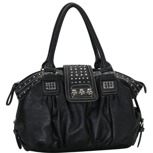 MG Collection Brenna Metal Studded Soft Leatherette Shopper Hobo, Black, One Size