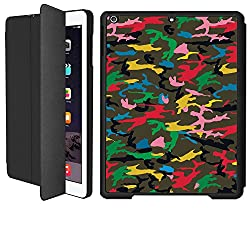 iPad Air 1 Smart Case Flip Cover (Black)- Multi Colored Speck Camouflage -Limited Edition Designed by Nik-L