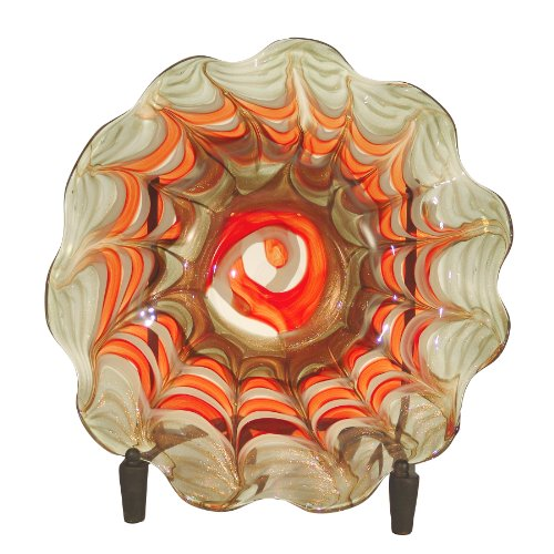 Dale Tiffany PG60524 Fire Dance Decorative Charger Plate with Stand, 17-Inch Diameter