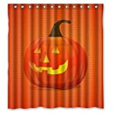 "Simple Halloween Time Orange Smile Pumpkin Shower Curtain (Shower Rings Included) 66""x72"" New Waterproof Polyester Fabric Curtain"