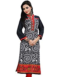 Pranjal Women's Black Warli Print Cotton Long Kurta