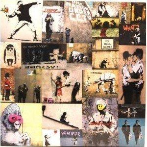 Canvas Print of Banksy Graffiti Collage