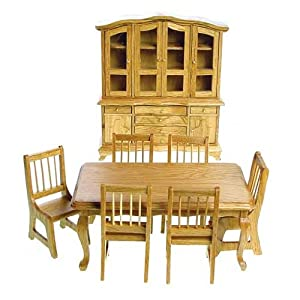 Dollhouse Miniature Eight Piece Oak Banquet Dining Room Set