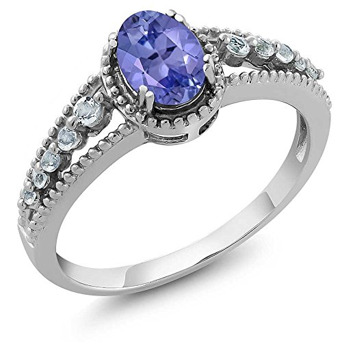 1.00 Ct Natural Oval Tanzanite & White Topaz 925 Sterling Silver Women's Ring (Available in size 5, 6, 7, 8, 9) (Tanzanite Ring Size 6 compare prices)