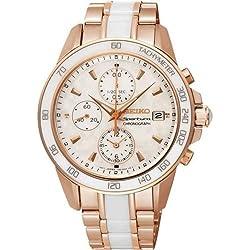 SEIKO SNDW98P1 - Reloj de señora, cronógrafo 100 M de acero, color rosa, cerámica