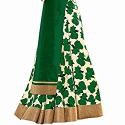 RADIATO ES New Fancy HIGH Quality Fabric GREEN And White Flower Print Indo Western Lehenga