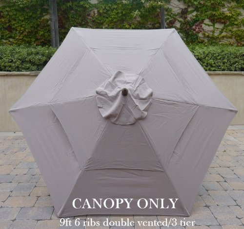 Double Vented 9ft Umbrella Replacement Canopy 6 Ribs in Taupe (Canopy Only)