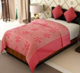 Home Candy Flowers Cotton Single Bed Duvet Cover with Zipper - Pink