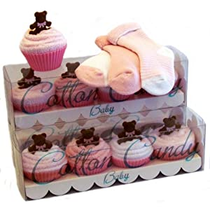 Pink Cupcake Socks 12 Piece Gift Set by Cotton Candy Baby