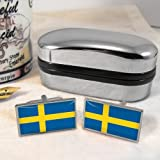 Sweden Mens Cufflinks with Chrome Gift Box