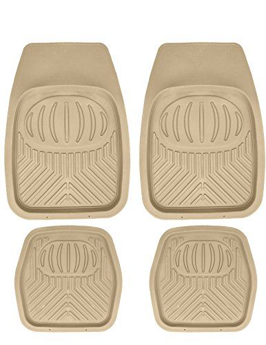 Mann Pack of 4 Front & Rear, Driver & Passenger Seat Ridged Heavy Duty Rubber Floor Car Mats Tobacco (Disney Car Floor Mats compare prices)