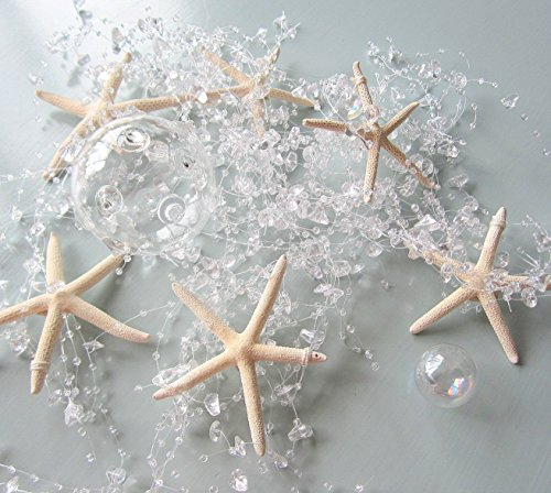 Beach Decor Nautical Beaded Starfish Garland - White Starfish Decorative Garland - 5FT - #BSFG CLEAR
