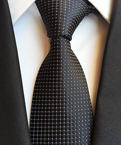new-classic-checks-black-white-jacquard-woven-100-silk-mens-tie-necktie