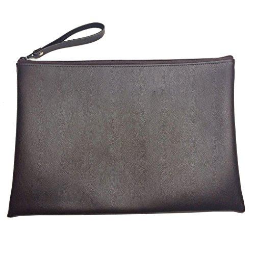 Perfectos Zippered Envelope Portfolio Briefcases For Men (14X11.5 Inch, Dark Brown)