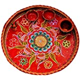 Handmade Pooja / Aarti Decorated Steel Puja Thali Set With 2 Bowl, 1 Loota And 1 Kalash For Diwali / Navratri / Ganesh / Lakshmi Puja,Designer Pooja Artical, Decorative Item, Handicraft Art Work