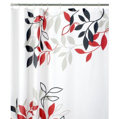 Maytex Mills Satori Fabric Shower Curtain Red New Free