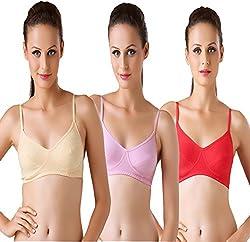 Bodyline Hosiery Non Padded Skin Pink and Red Bra