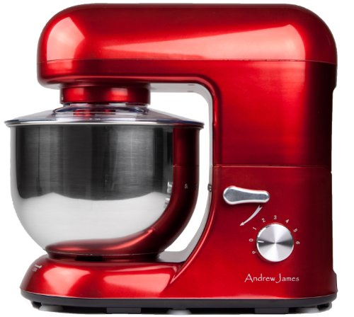 Details for Andrew James 1500 Watt Electric Food Stand Mixer In Stunning Red With Splash Guard and 5.2 Litre Bowl + Spatula + 128 Page Food Mixer Cookbook