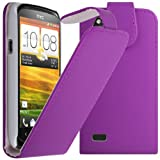 IGloo Quality Slim Leather Flip Cover Case Wallet for the HTC Desire X Mobile Phone - Purple
