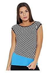 VeaKupia Women's Top (3131--XS, White and Black, X-Small)