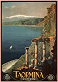 C1927 Vintage Travel ITALY See TAORMINA by Mario Borgoni 250gsm ART CARD Gloss A3 Reproduction Poster