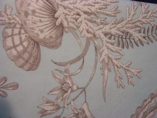 Coastal Collection Beach Shells Sea Life Aqua Blue Fabric Shower Curtain