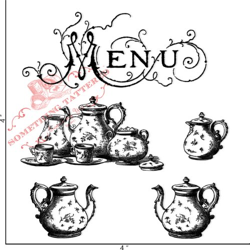 Something Tattered Menu Tea Service Clear Stamps, 4 By 4-Inch